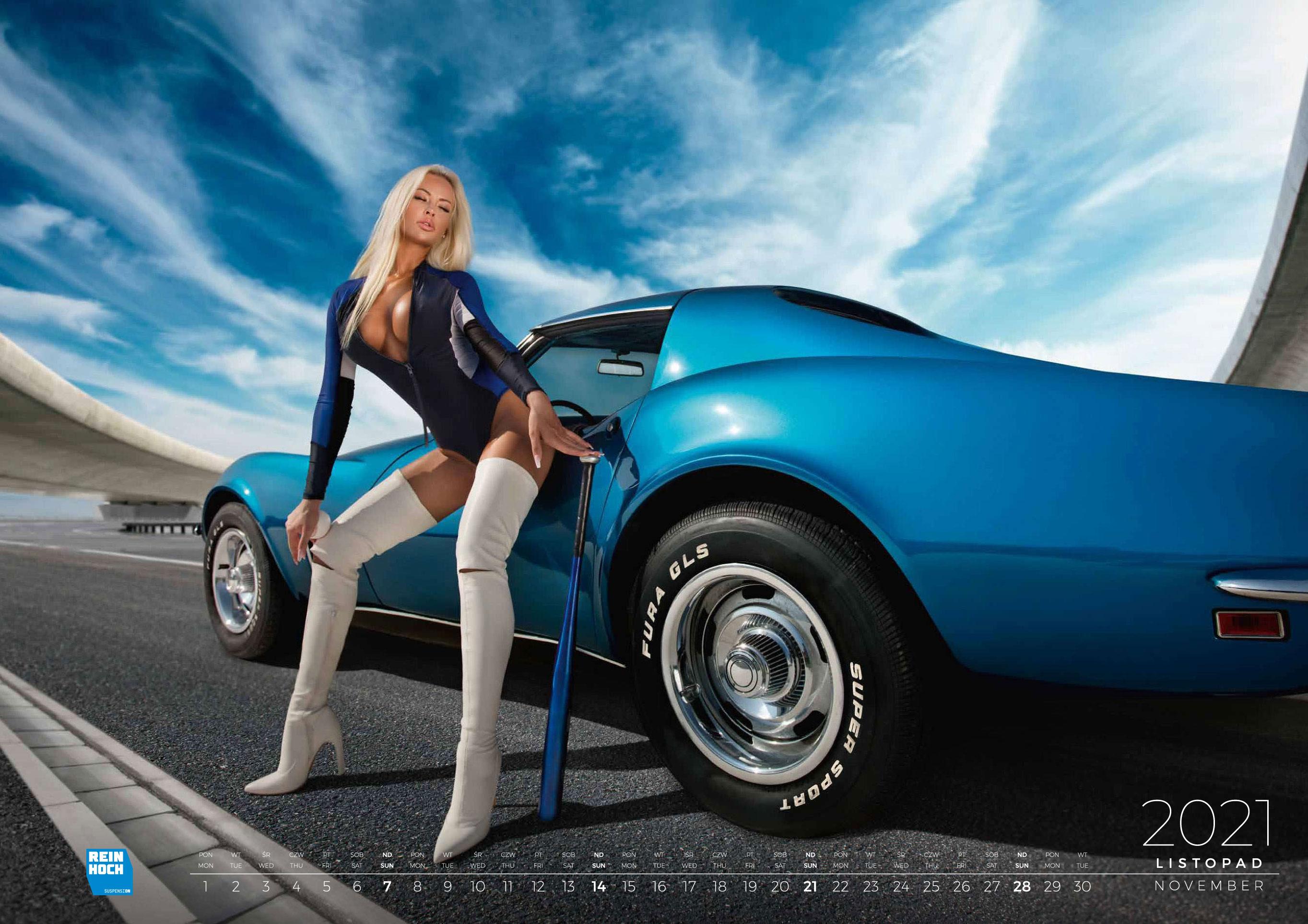 календарь с девушками и автомобилями на 2021 год / ноябрь
