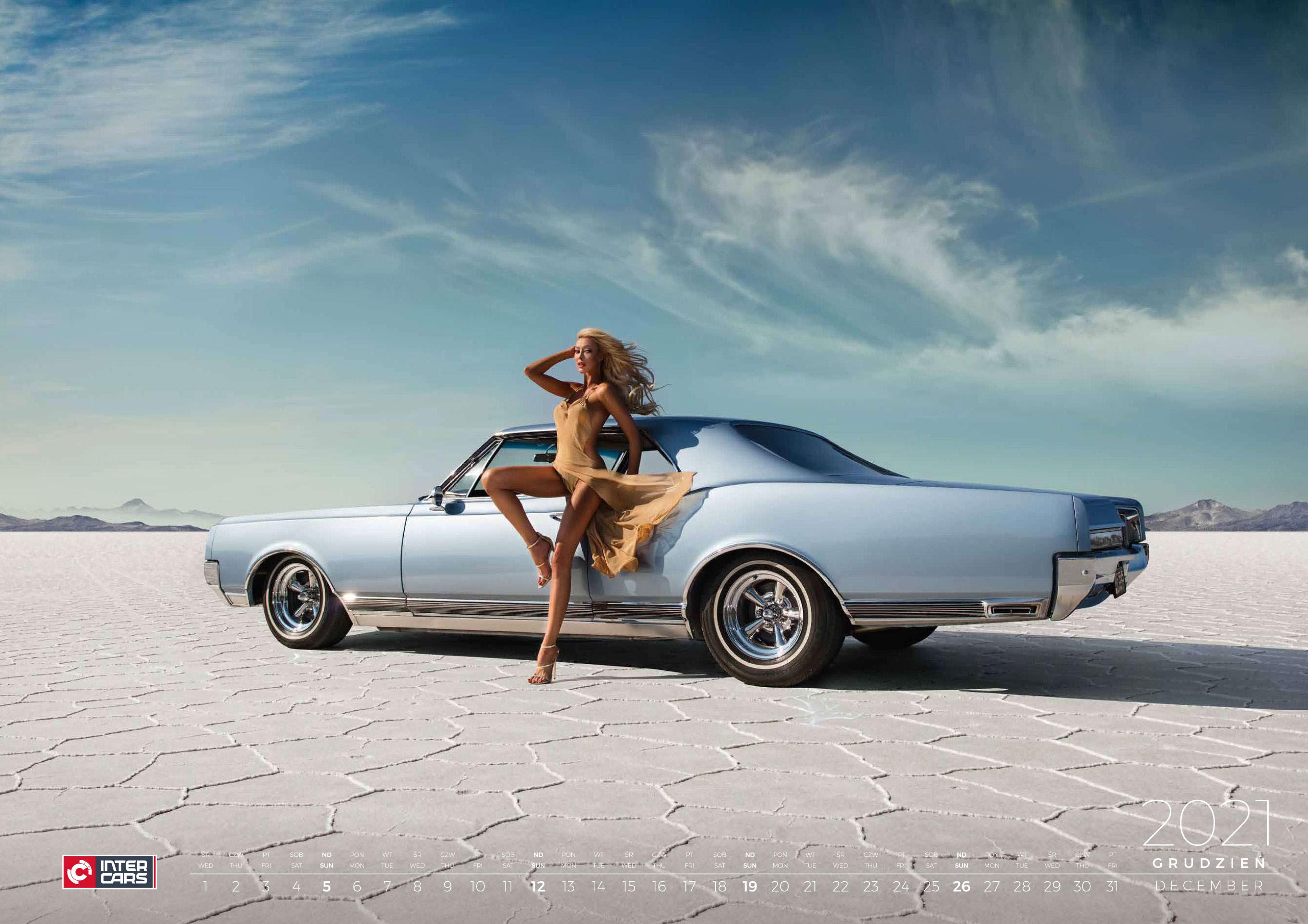календарь с девушками и автомобилями на 2021 год / декабрь